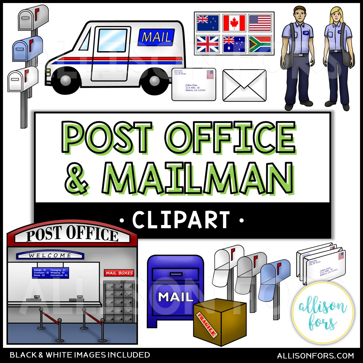 Community Helpers: Post Office & Mailman Clip Art