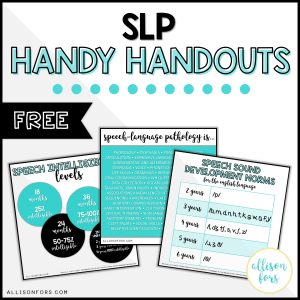 Free Speech Therapy Handouts