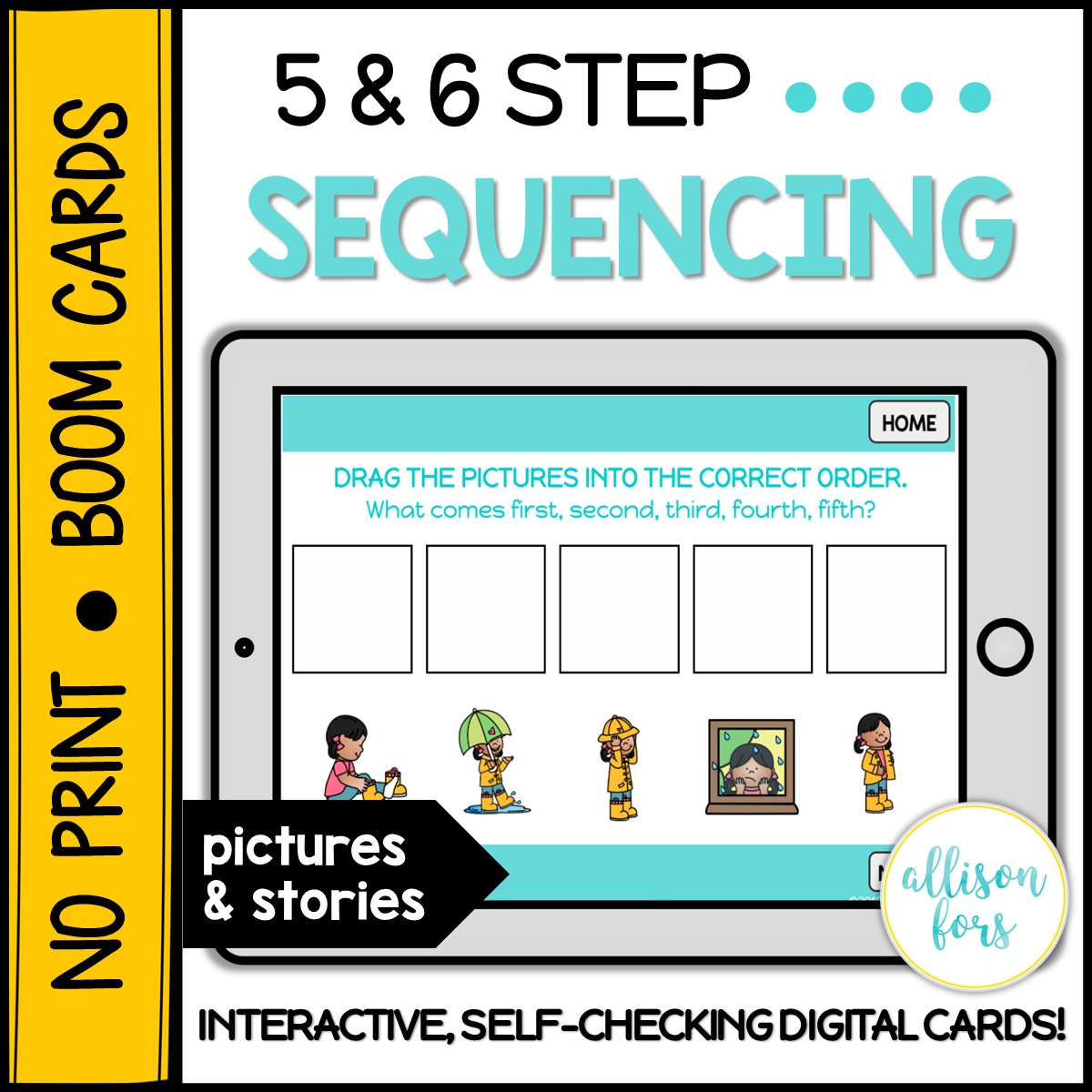 No Print Boom Cards 5 6 Step Sequencing Allison Fors
