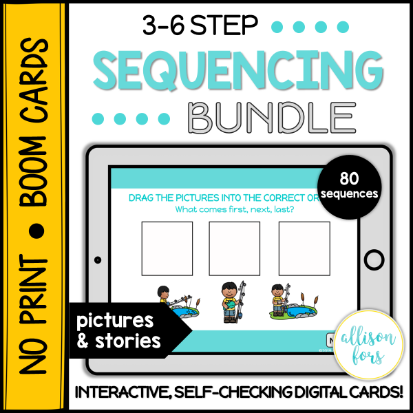 Sequencing bundle Boom cards no print speech therapy