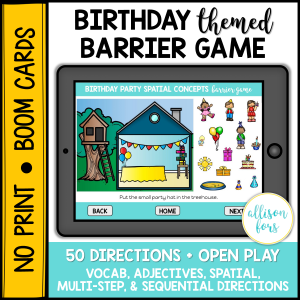birthday party barrier game speech therapy
