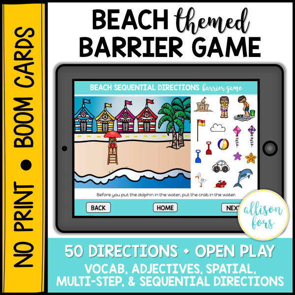 beach barrier game speech therapy