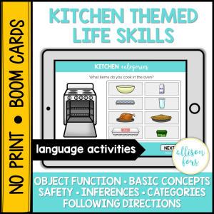 boom cards speech therapy kitchen