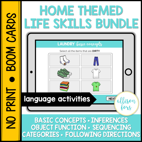 home life skills boom cards speech therapy