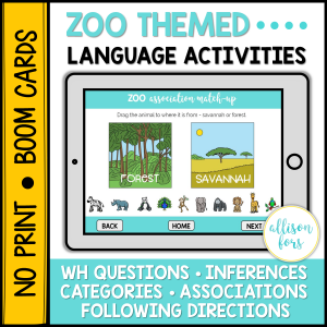 zoo language activities