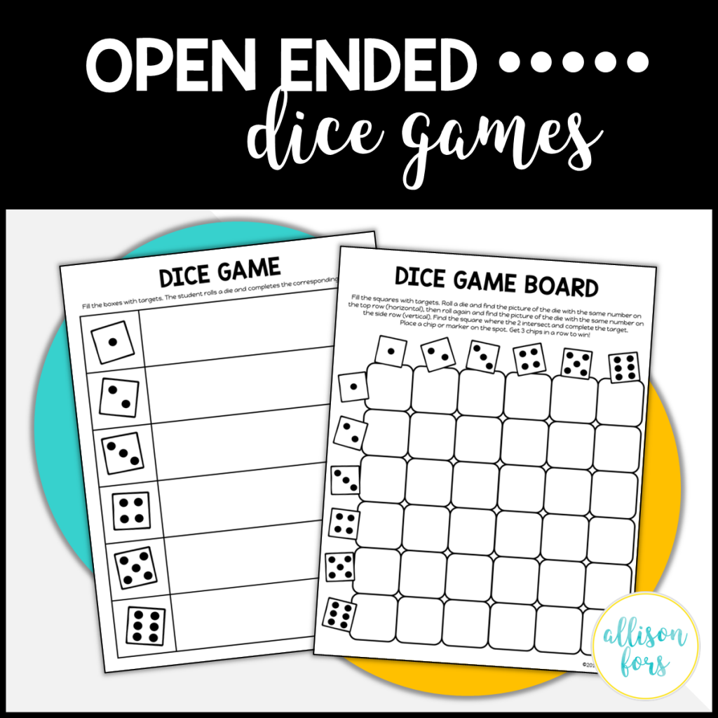 free dice reinforcers speech therapy
