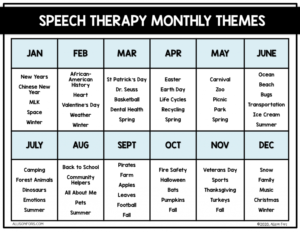 Speech Therapy Themes Monthly Calendar