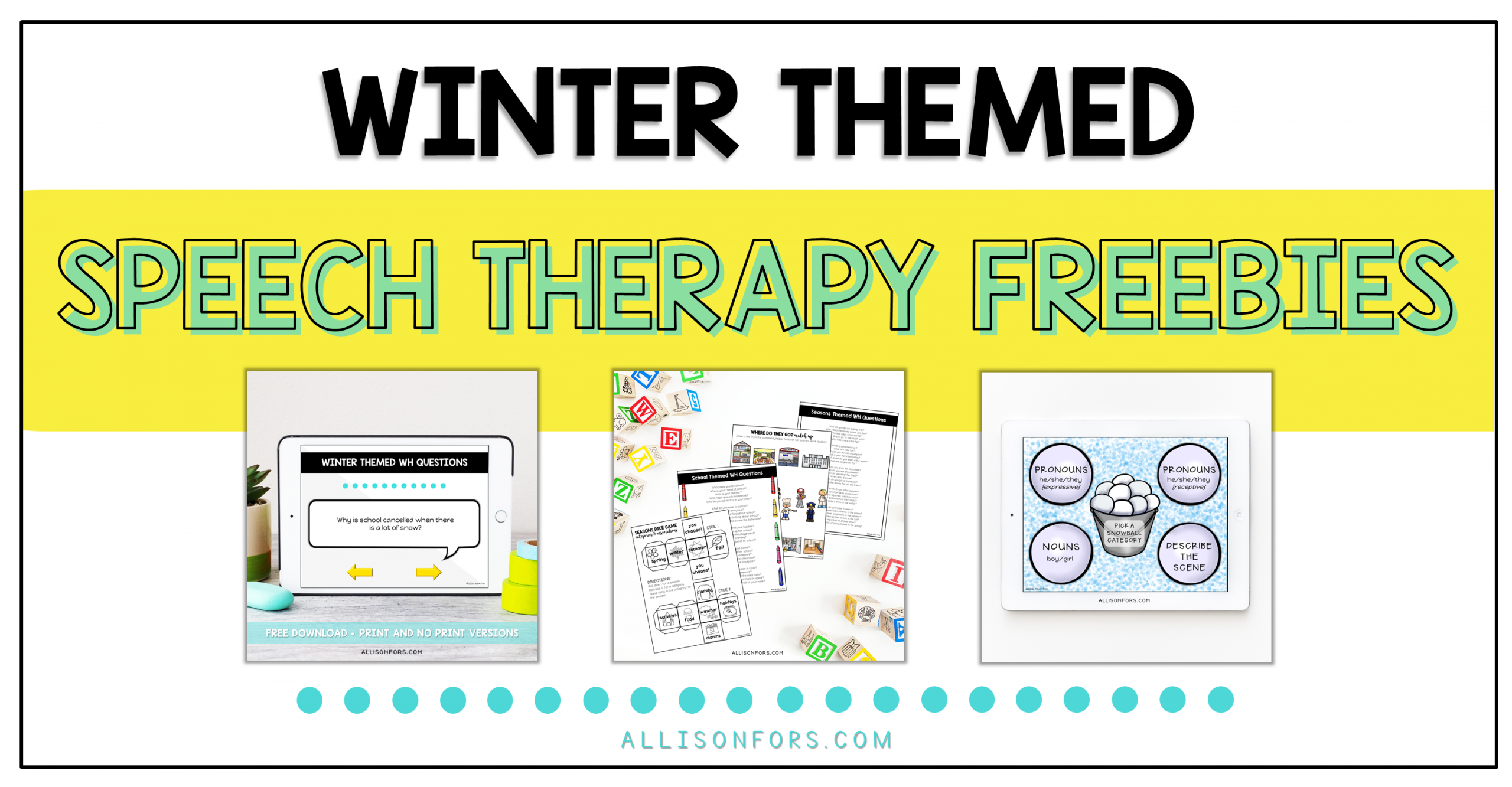 Free Winter Speech Therapy Activities
