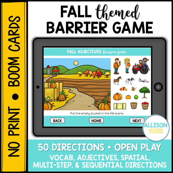 fall barrier game speech therapy