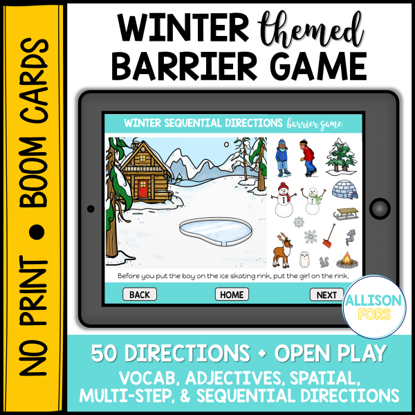 winter barrier games speech therapy