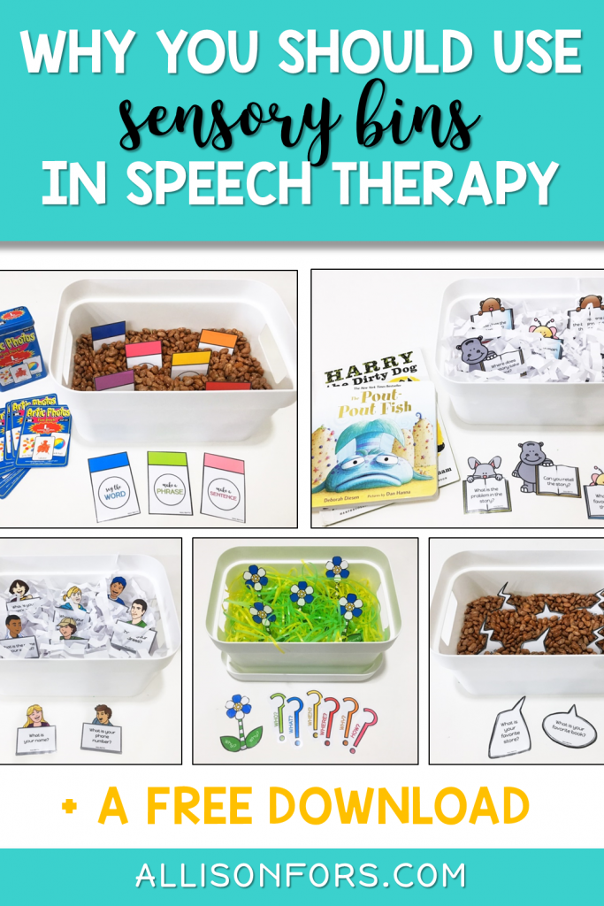 speech therapy sensory bins