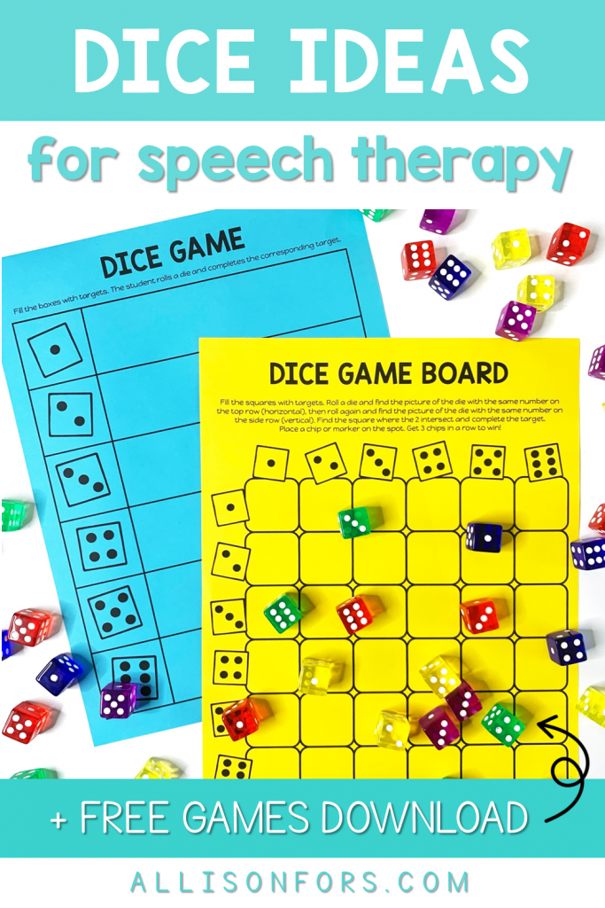dice games ideas speech therapy